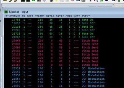Image 3) MIDI Ox Data
