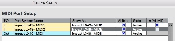 Image 1) Impact MIDI ports in OSX