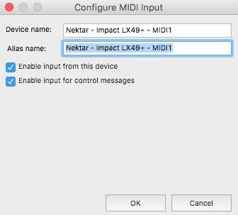 Image 3) Configure MIDI Input OSX