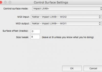 Image 4) Control Surface Settings OSX