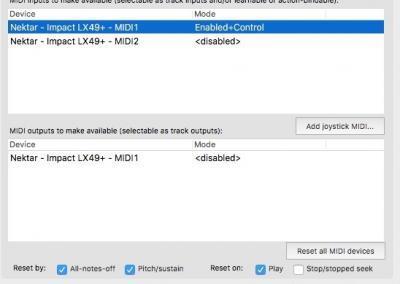 Image 2) MIDI Hardware Settings OSX