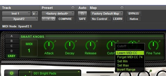 Pro Tools - MIDI CC assignment