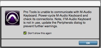 Pro Tools - Warning Message