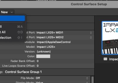 5) Logic Control Surface Setup window